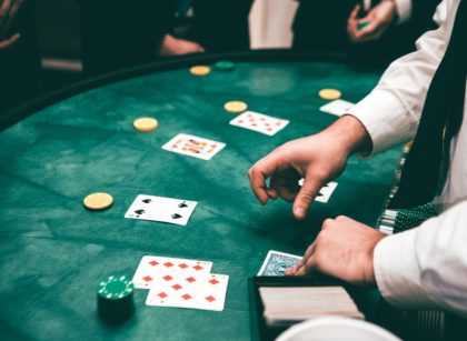 playing poker in a real casino